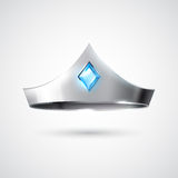 Silver tiara with blue gem Stock Photography