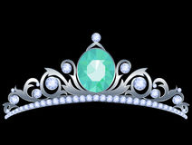 Silver tiara. With diamonds and aquamarine on black background royalty free illustration