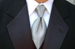 Silver tie and tux Royalty Free Stock Photography