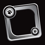 Silver tilted halftone web icon with paw print Royalty Free Stock Photo