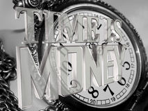 Silver time is money text on a background of old clock. 3d illustration. Silver time is money text on a background of old clock Royalty Free Stock Image