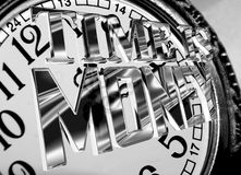 Silver time is money text on a background of old clock Royalty Free Stock Image