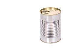 Silver tin. On white background Royalty Free Stock Image