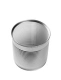 Silver tin can isolated on white Royalty Free Stock Photos
