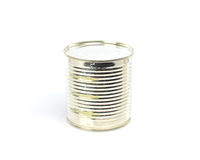 Silver tin can on a white background Stock Photo