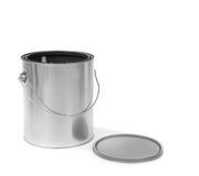 Silver tin paint can opened Stock Photo