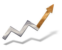 Silver to gold growing business graph. With shadow over white background Stock Images