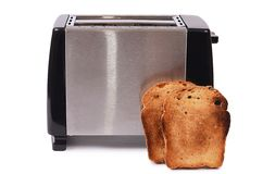 Silver toaster isolated on white background Stock Photos