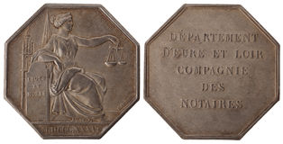 Silver token. Notaries Eure-et-Loir, 19th century, isolated on white Royalty Free Stock Images