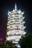 Silver towers pagoda in Guilin, China, close up Stock Photo