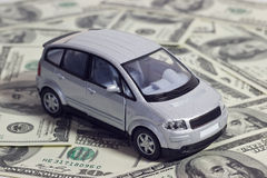 Silver toy car Stock Image
