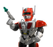 Silver toy robot closeup. Isolated armored plastic silver red toy robot with guns, closeup view Royalty Free Stock Photos