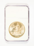 Silver Trade Dollar in Grading Case Stock Photo