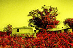 Silver Trailer Surrounded by Red Foliage Royalty Free Stock Image