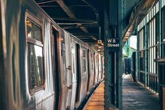 Silver Train on W8 Street Platform Stock Photography