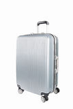 Silver travel luggage isolated. Silver travel plastic suitcase and wheels  isolated on white with clipping path Stock Photography