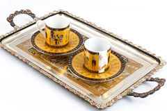 Silver tray with coffee cups Royalty Free Stock Image