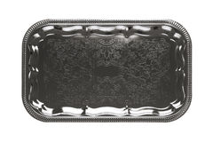 Silver tray with floral ornament Stock Photography