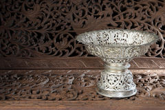 Silver tray with pedestal Thai Royalty Free Stock Images