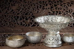 Silver tray with pedestal Thai Stock Photo