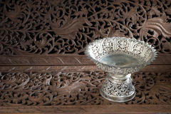 Silver tray with pedestal Thai Stock Photography