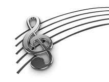 Silver Treble Clef. High quality illustration of a silver musical G Clef or Treble Clef symbol Stock Photo