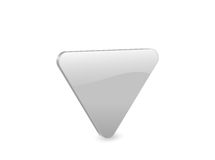 Silver triangular 3d icon Royalty Free Stock Photo