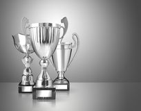 Silver trophies. Three different kind of silver trophies on gray background Stock Image