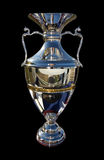 Silver trophy. Cup on the black background stock photo