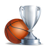 Silver trophy cup with a Basketball ball stock illustration
