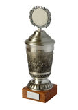 Silver trophy cup. Isolated on white background stock image