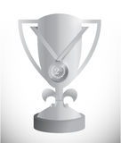 Silver trophy cup and medal illustration Royalty Free Stock Photos