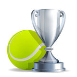Silver trophy cup with a Tennis ball Stock Images