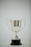 Silver trophy on grey background. Close-up of champion silver trophy on grey background royalty free stock photo