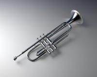 Silver trumpet. With gradient background. Jazz  music instrument Stock Photos