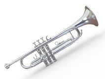Silver trumpet. 3d Royalty Free Stock Images