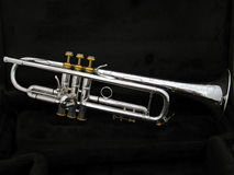 Silver Trumpet. The Complete View of a Silver Trumpet Royalty Free Stock Photo