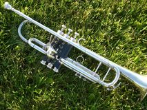 Silver trumpet on grass Stock Images