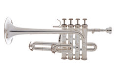 Silver trumpet over white background Stock Image