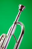 Silver Trumpet Siolated On Green Stock Images