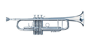 Silver trumpet viewed from a side. Stock Photo