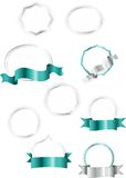 Silver and turquoise collection of labels, stickers and ribbons Royalty Free Stock Image