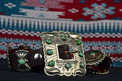 Silver and Turquoise Concho Belt Stock Photography