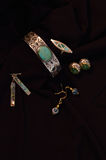 Silver, turquoise and costume jewelry, vintage and modern Stock Photography