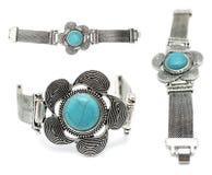 Silver and turquoise gemstone bracelet. Three perspectives of a silver and turquoise gemstone bracelet on white background Stock Photos