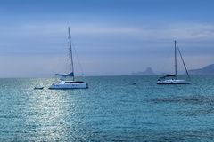 Silver turquoise Illetes Formentera sea sunset Stock Photo