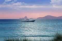 Silver turquoise Illetes Formentera sea sunset Royalty Free Stock Photography