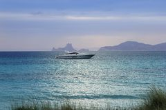 Silver turquoise Illetes Formentera sea sunset Royalty Free Stock Photo