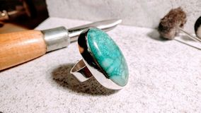 Silver and turquoise ring Royalty Free Stock Photo