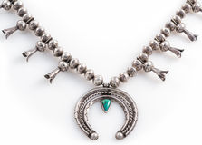 Silver and Turquoise Squash Blossom Necklace Royalty Free Stock Images